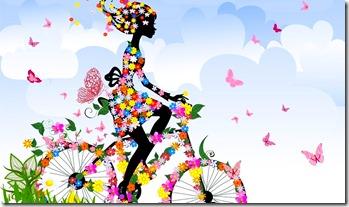 женщина в море цветов велосипед